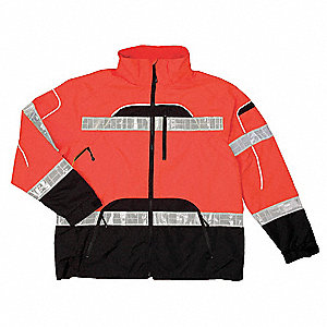 "Orange Polyester Rain Jacket, Reflective Piping, Size S/M, Fits Chest Size 36"" to 42"""
