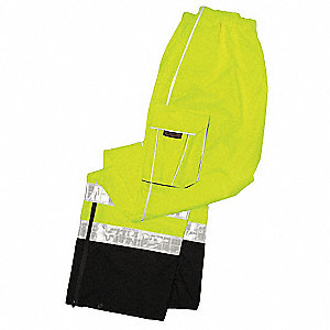 Rain Pants, High Visibility: Yes, ANSI Class: Class E, Polyester, Polyurethane, 4XL/5XL, Yellow\Gree