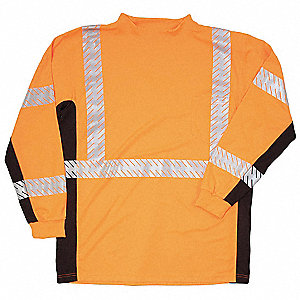 T-Shirt,Black Sided,Class 3,Orange,2XL