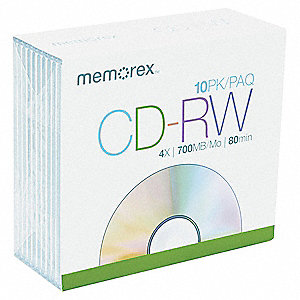 CD-RW Disc, 700 MB Capacity, 4x Speed
