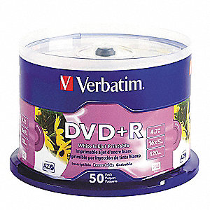 DVD+R Disc, 4.70 GB Capacity, 16x Speed