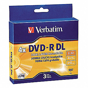 DVD-R Dual Layer Disc, 8.50 GB Capacity, 4x Speed