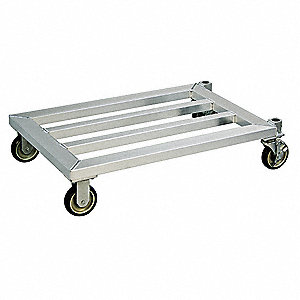 "25-3/4"" x 20"" x 8-1/4"" Aluminum Food Service Dolly with 1200 lb. Load Capacity, Silver"