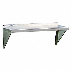 "Solid Aluminum Wall Shelf, 36""W x 12""D x 13-1/4""H, No. of Shelves: 1"