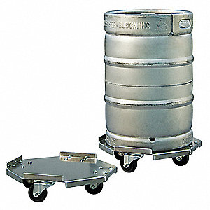 "17-1/4"" x 5-1/4"" x 17-1/4"" Aluminum Food Service Dolly with 1200 lb. Load Capacity, Silver"