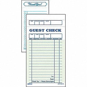 Guest Check Board,1 Part,Green,PK50