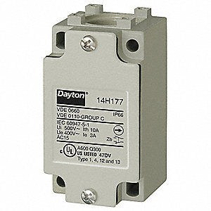 1NO/1NC 16 AWG Heavy Duty Limit Switch Body, AC Contact Rating: 10A @ 240VAC