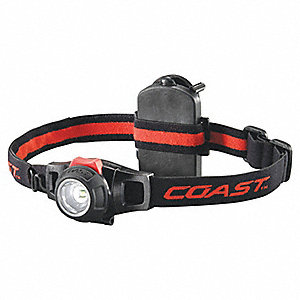 LED Headlamp, Aluminum, 25,000 hr. Lamp Life, Maximum Lumens Output: 285, Black