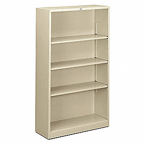 "34-1/2"" x 12-5/8"" x 59"" Brigade Series Bookcase with 4 Shelves, Putty"