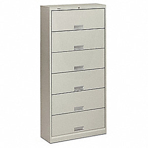 "36"" x 13-3/4"" x 75-7/8""-Drawer Brigade 600 Series File Cabinet, Light Gray"