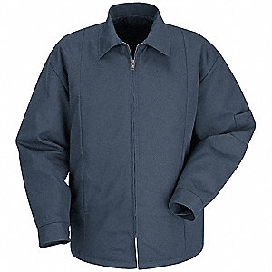 Jacket,  65% Polyester/35% Cotton,  Navy,  Zipper Closure Type,  2XL,  Men's