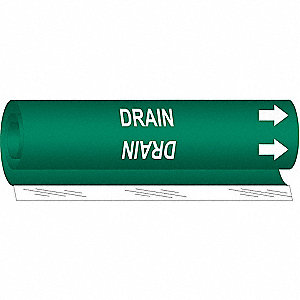 Pipe Marker,Drain,Green,1/2 to 1-3/8 In