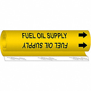 Pipe Mrkr,Fuel Oil Supply,2-1/2to7-7/8In