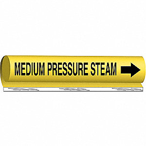 Pipe Marker,Medium Pressure Steam,Yellow