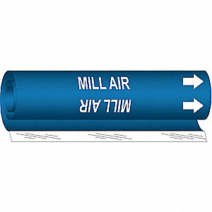 Pipe Marker, Mill Air, Blue, 1/2 to1-3/8 In