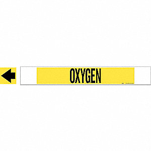 Pipe Marker,Oxygen,Yel,8 In or Greater