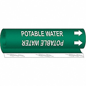 Pipe Mrkr,Potable Water,2-1/2to7-7/8 In