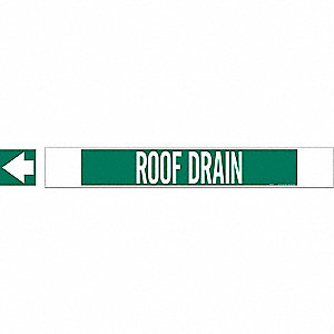Pipe Marker,Roof Drain,Gn,8 In orGreater