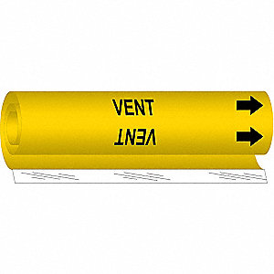 Pipe Marker,Vent,Yellow,1/2 to 1-3/8 In
