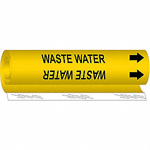 Pipe Marker,Waste Water,Y,1/2 to1-3/8 In