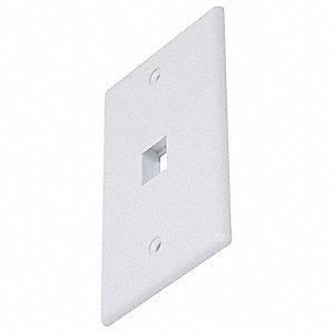 White Wall Plate, Plastic, Number of Gangs: 1, Cable Type: Blank, Keystone