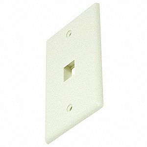Ivory Wall Plate, Plastic, Number of Gangs: 1, Cable Type: Blank, Keystone