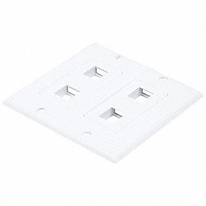 White Wall Plate, Plastic, Number of Gangs: 2, Cable Type: Blank, Keystone