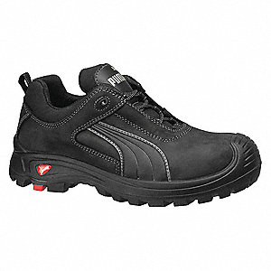 "4""H Men's Athletic Style Work Shoes, Composite Toe Type, Black, Size 8"