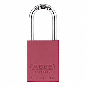"Different-Keyed Padlock, Open Shackle Type, 1-1/2"" Shackle Height, Red"