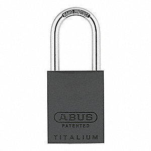 "Different-Keyed Padlock, Open Shackle Type, 1-1/2"" Shackle Height, Black"
