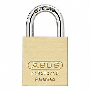 "Coreless-Padlock for Interchangeable Core, Open Shackle Type, 1"" Shackle Height, Brass"