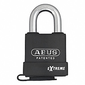 "Coreless-Padlock for Interchangeable Core, Open Shackle Type, 1-3/8"" Shackle Height, Black"