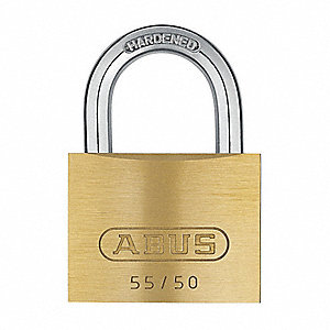 "Different-Keyed Padlock, Open Shackle Type, 15/16"" Shackle Height, Brass"