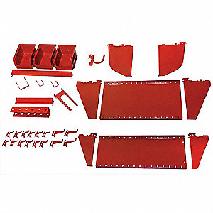 Steel Slotted Toolboard Accessory Kit, Red