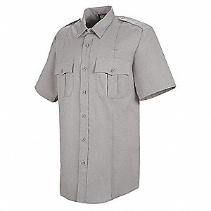 New Dimension Stretch Dress Shirt, L, Gray