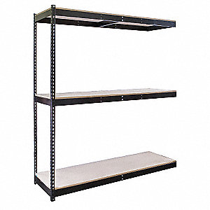 "Add-On Boltless Shelving with Particle Board Decking, 3 Shelves, 72""W x 36""D x 84""H"