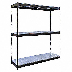 "Starter Boltless Shelving with Steel EZ Deck Decking, 3 Shelves, 60""W x 36""D x 84""H"