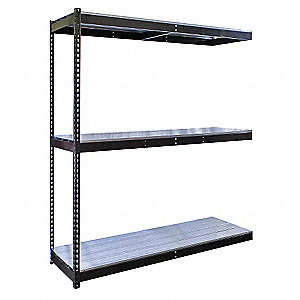 "96""W x 36""D x 84""H Steel Boltless Shelving Add-On Unit, Black&#x3b; Number of Shelves: 3"