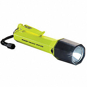 Industrial LED Handheld Flashlight, Plastic, Maximum Lumens Output: 109, Yellow