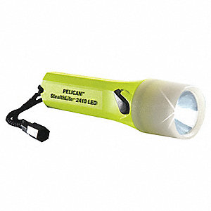 Industrial LED Handheld Flashlight, Plastic, Maximum Lumens Output: 126, Yellow