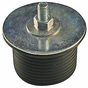 "1-1/2"" Hex-Nut Mechanical Expansion Plug, Zinc Plated Steel, Neoprene Rubber"