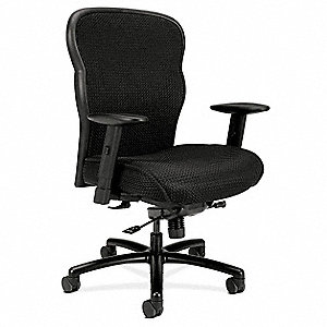 "Exec Chair,Fabric,Black,19-22"" Seat Ht"
