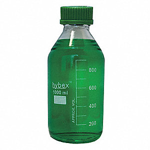 1,000mL Media Bottle, Narrow Mouth, Hybex Borosilicate Glass, PK 10