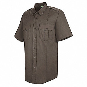 Deputy Deluxe Shirt,SS,Brown,20-1/2 In.