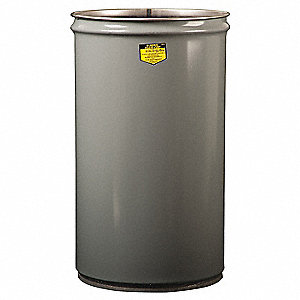 JUSTRITE 15 gal. Gray, Metal Open-Head Drum