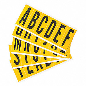"Letter Label Kit, A Thru Z, Black On Yellow, 2-15/16"" Character Height, 25 PK"