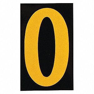"Number Label, 0, Yellow On Black, 2-1/2"" Character Height, 25 PK"