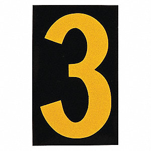 "Number Label, 3, Yellow On Black, 2-1/2"" Character Height, 25 PK"