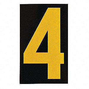 "Number Label, 4, Yellow On Black, 2-1/2"" Character Height, 25 PK"