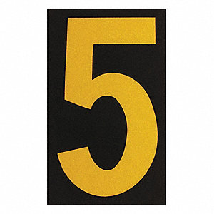 "Number Label, 5, Yellow On Black, 2-1/2"" Character Height, 25 PK"